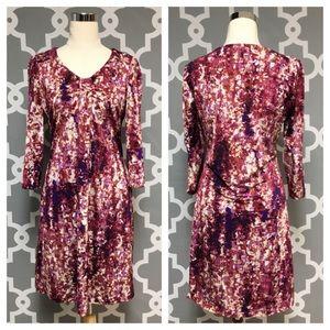 Dana Buchman Pink Print 3/4in Sleeve Dress 2D